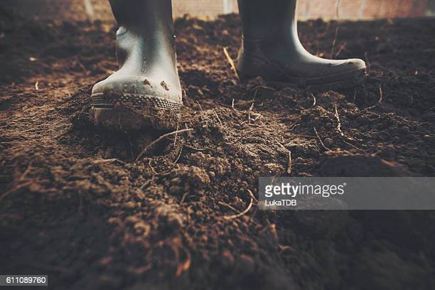 muddy gardening boots - boot stock pictures, royalty-free photos & images