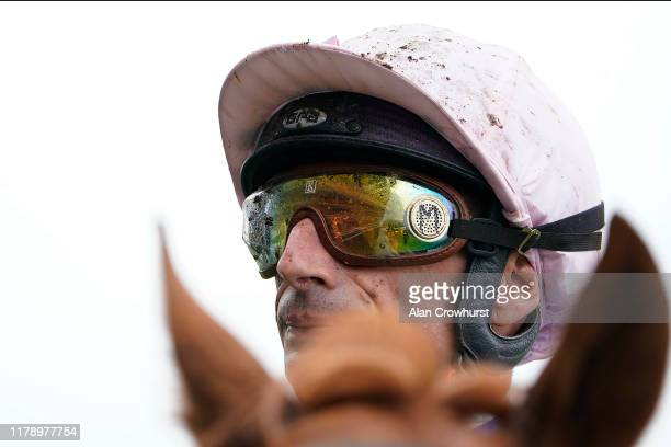 Muddy Gerald Mosse on a wet day at Ascot Racecourse on October 04, 2019 in Ascot, England.