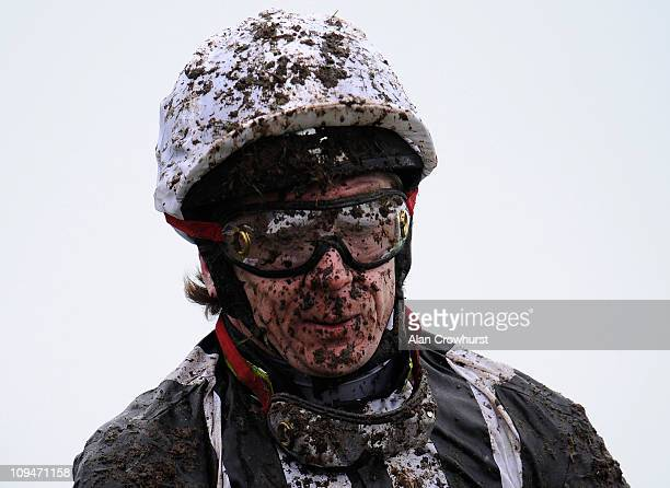 A muddy Jimmy McCarthy at Fontwell racecourse on February 27 2011 in Fontwell England