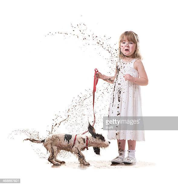 muddy puppy - dirty little girls photos stock pictures, royalty-free photos & images