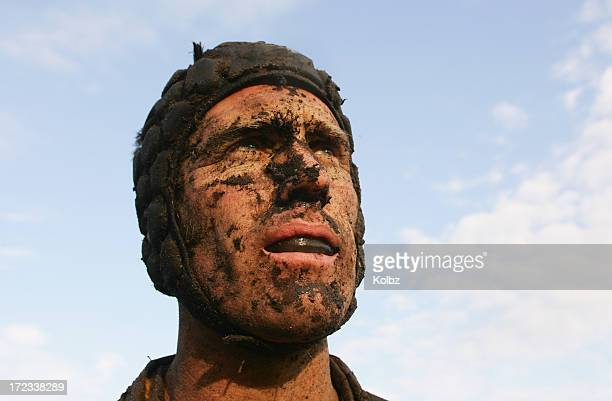 muddy rugby player - headwear stock pictures, royalty-free photos & images