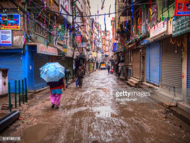 Muddy streets after the rain in Kathmandu, Nepal - March 11, 2017