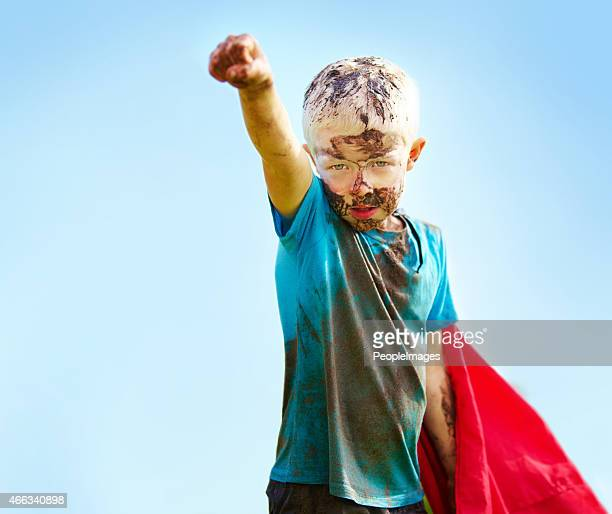 A muddy superhero