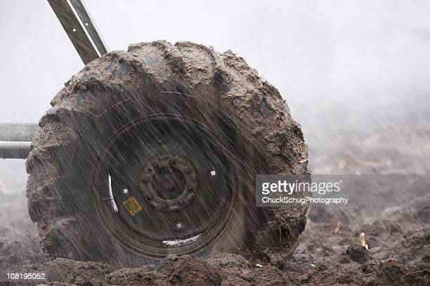 muddy tire agriculture irrigation sprinkler - eroded stock pictures, royalty-free photos & images