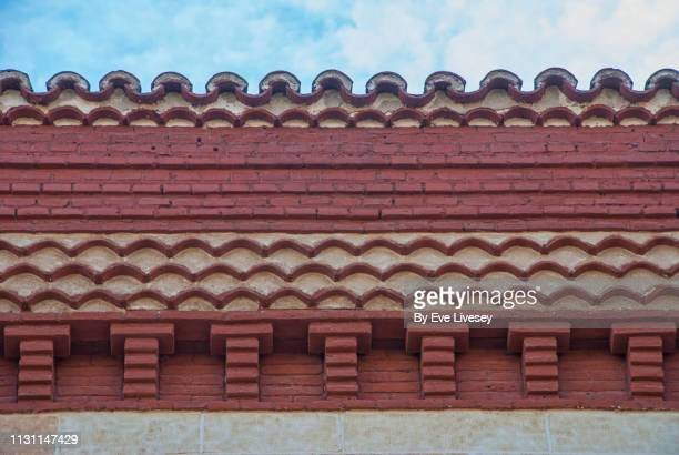 mudejar style rooftop - alcala de henares stock pictures, royalty-free photos & images