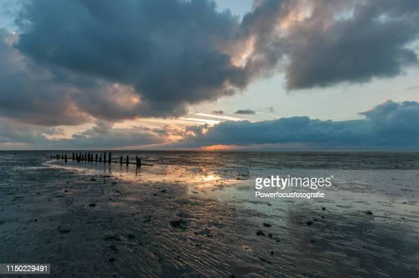 mudflat - friesland noord holland stockfoto's en -beelden