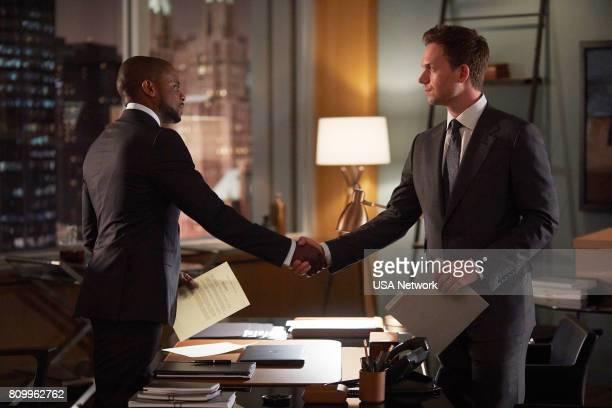 "Mudmare"" Episode 703 -- Pictured: Dulé Hill as Alex Williams, Patrick J. Adams as Michael Ross --"
