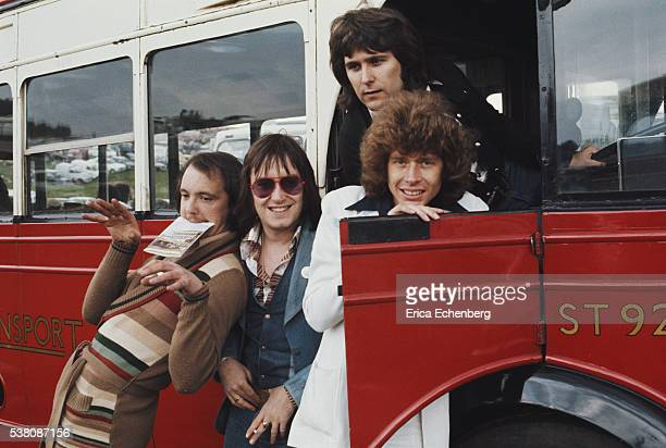 Mudpose on a vintage bus, Epsom Downs race course, 1975. L-R Dave Mount, Les Gray, Ray Stiles, Rob Davis.
