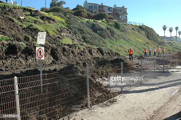 A mudslide covered a portion of the railroad tracks in San Clemente California on January 12 2005