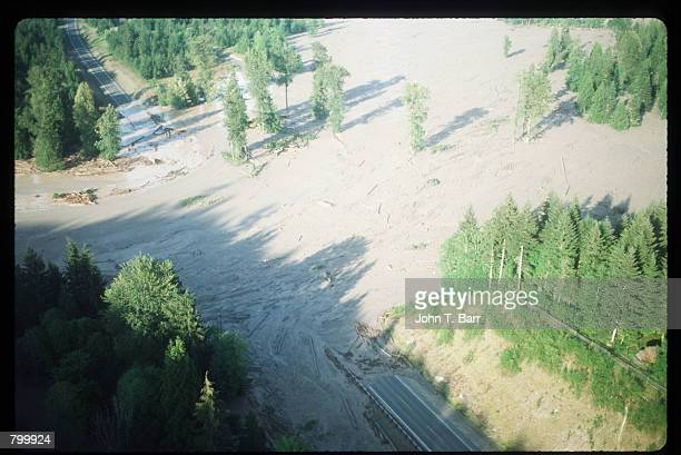 A mudslide covers a road May 23 1980 in Washington State On May 18 an earthquake caused a landslide on Mount St Helens'' north face taking off the...