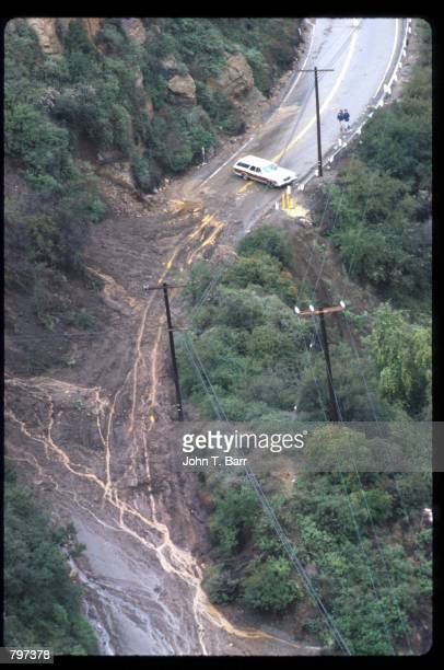 A mudslide makes a road impassable February 21 1980 in California Several storms battered the California coast with rain wind mudslides and floods...