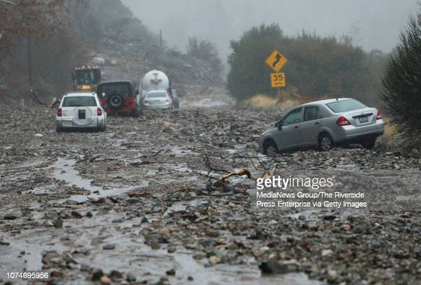 A mudslide trapped several vehicles along Valley of the Falls Dr in Forest Falls on Thursday November 29 2018