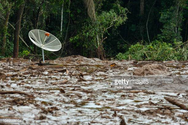 Mudslides affected areas buried in mining waste a day after the collapse of a dam from an ironore mine belonging to Brazil's mining company Vale in...