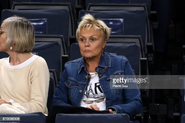 Mueiel Robin is seen in the stands during the Rolex Paris Masters at Hotel Accor Arena Bercy on November 3 2017 in Paris France