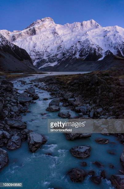 Mueller Lake And Hooker River In New Zealand's Mt Cook National Park