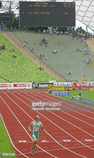EM 2002 Muenchen 200m/MAENNER Paul BRIZZEL/IRL laeuft alleine die 200m