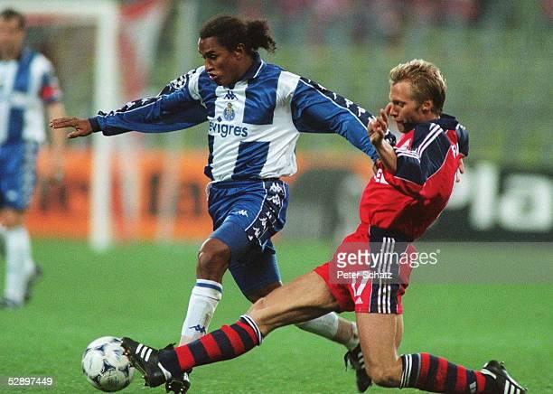 Muenchen; FC BAYERN MUENCHEN - FC PORTO 2:1; v.l.n.r.: ESQUERDINHA /PORTO, Thorsten FINK/BAYERN