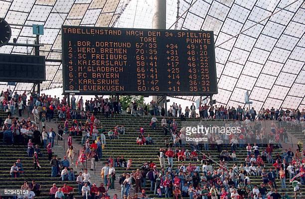 1 BUNDESLIGA 94/95 Muenchen FC BAYERN MUENCHEN SV WERDER BREMEN 31 ANZEIGETAFEL