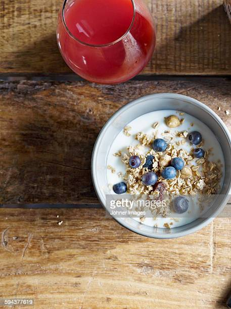 Muesli with blueberries in bowl