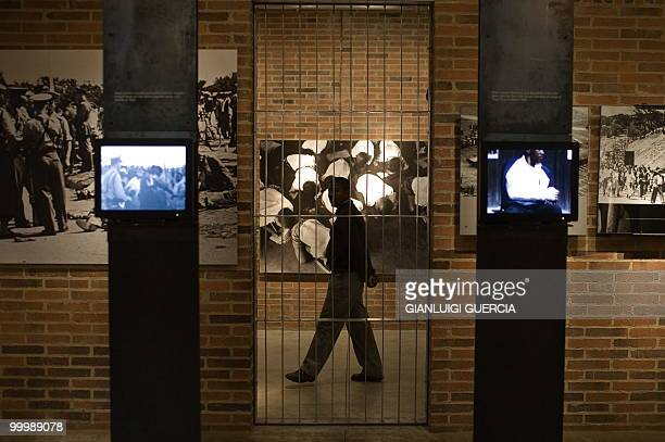 A Muesum marshall walks through the main exhibition on May 19 2010 at the Apartheid museum in Johannesburg South Africa The Apartheid Museum opened...
