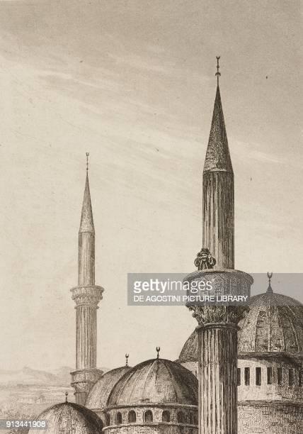 A muezzin announces prayer from a minaret Arabia engraving from Arabie by Noel Desvergers avec une carte de l'Arabie et note by Jomard L'Univers...