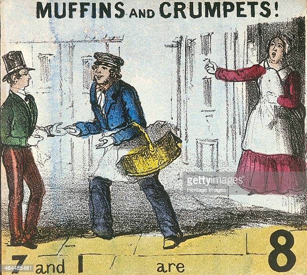 'Muffins and Crumpets' A muffin and crumpet seller sells his produce to a man with a woman standing in a nearby doorway From Cries of London c1840