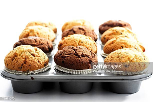 Muffins in baking tray, close-up