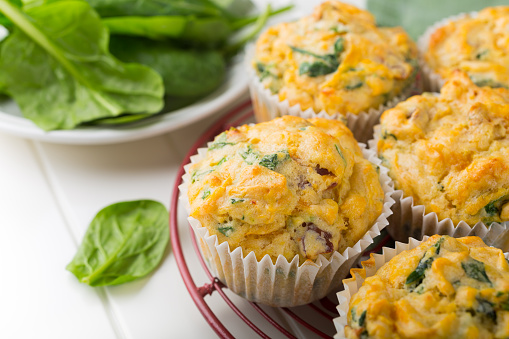 Muffins with spinach, sweet potatoes and cheese 524162174
