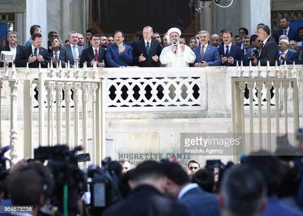Mufti of Istanbul Hasan Kamil Yilmaz prays with the attendance of Turkish President Recep Tayyip Erdogan, Turkish Deputy Prime Minister Hakan...