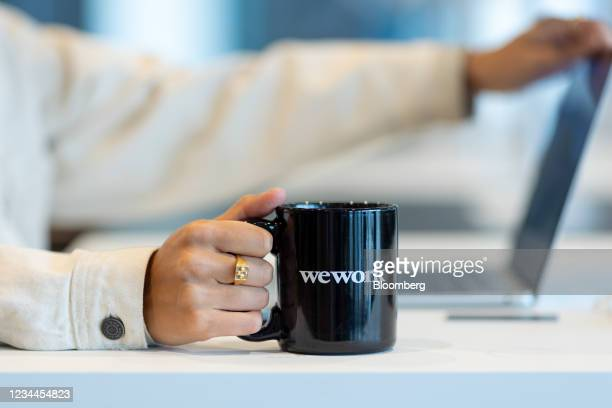 Mug at a WeWork co-working office space in the Waterloo district in London, U.K. On Monday, Aug. 2, 2021. A survey this month showed that just 17% of...