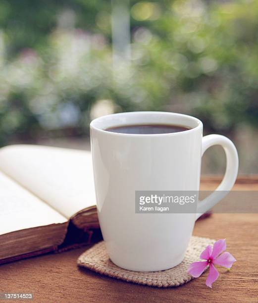 Mug of coffee on crochet coaster