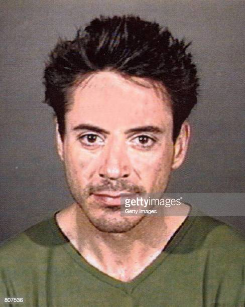 A mug shot of actor Robert Downey Jr is taken on April 24 2001 in Culver City CA The actor was arrested by officers of the Culver City Police...