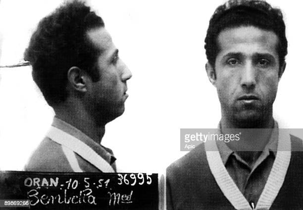 Mug shot of algerian politician Ahmed Ben Bella may 10 1951 he was arrested in 1950 for holdup of the post office of Algiers condemned to prison...