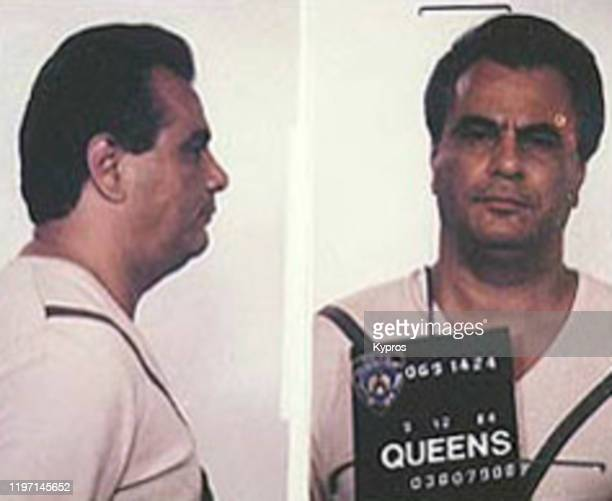 Mug shot of American gangster John Gotti , following his arrest in Queens, New York City, circa 1980.