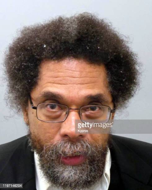 A mug shot of American writer and activist Cornel West following his arrest in Ferguson Missouri during a protest against the police shooting of...