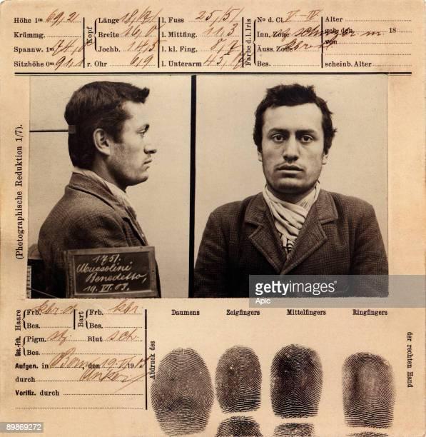 Mug shot of Benito Mussolini june 19 1903 in Bern Switzerland