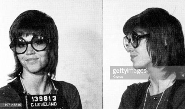 Mug shots of American actress and activist Jane Fonda, following her arrest in Cleveland for kicking a local police officer, USA, 3rd November 1970....