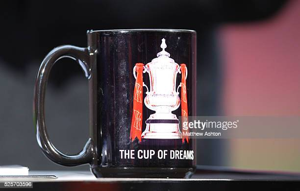 A mug with a picture of the FA Cup Trophy and the words The cup of dreams