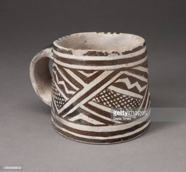 Mug with Interlocking Geometric Pattern with Zigzag Motifs and Crosshatching, A.D. 1100/1275, Ancestral Pueblo , Mesa Verde Black-on-white,...