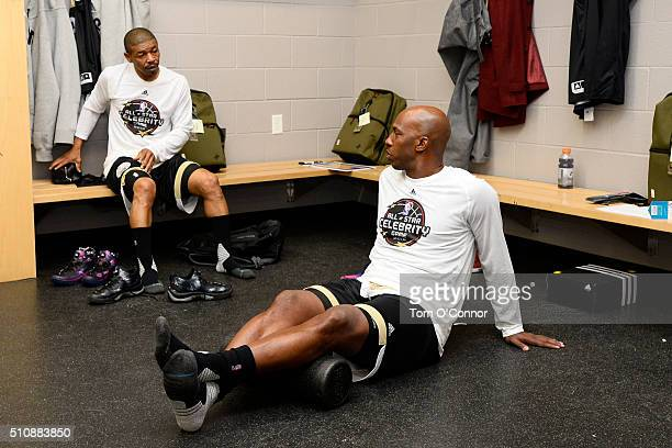 Muggsy Bogues and Chauncey Billups in the locker room before the NBA AllStar Celebrity Game Presented by Mountain Dew as part of 2016 AllStar Weekend...