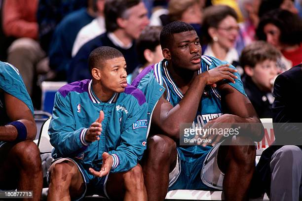 Muggsy Bogues and Larry Johnson of the Charlotte Hornets cheer on bench during a game played in 1992 at the Veterans Memorial Coliseum in Portland...