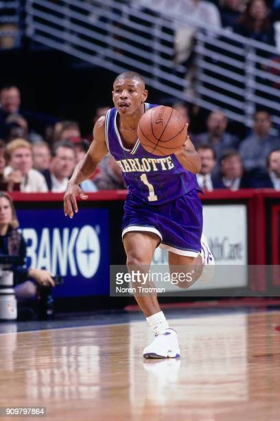 Muggsy Bogues of the Charlotte Hornets dribbles during a game played on November 4 1994 at the United Center in Chicago Illinois NOTE TO USER User...