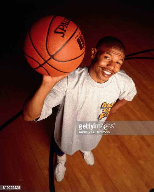 Muggsy Bogues of the Charlotte Hornets poses for a photograph at the Charlotte Coliseum in Charlotte North Carolina circa 1993 NOTE TO USER User...