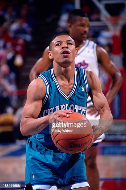 Muggsy Bogues of the Charlotte Hornets shoots a foul shot against the Sacramento Kings during a game played on February 27 1991 at Arco Arena in...