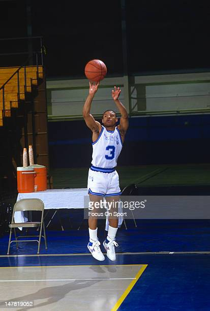 Muggsy Bogues of the Rhode Island Gulls in action during an USBA basketball game circa 1987 Bogues played for the Gulls in 1987