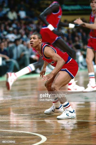 Muggsy Bogues of the Washington Bullets defends his position against the Boston Celtics during a game played in 1988 at the Boston Garden in Boston...
