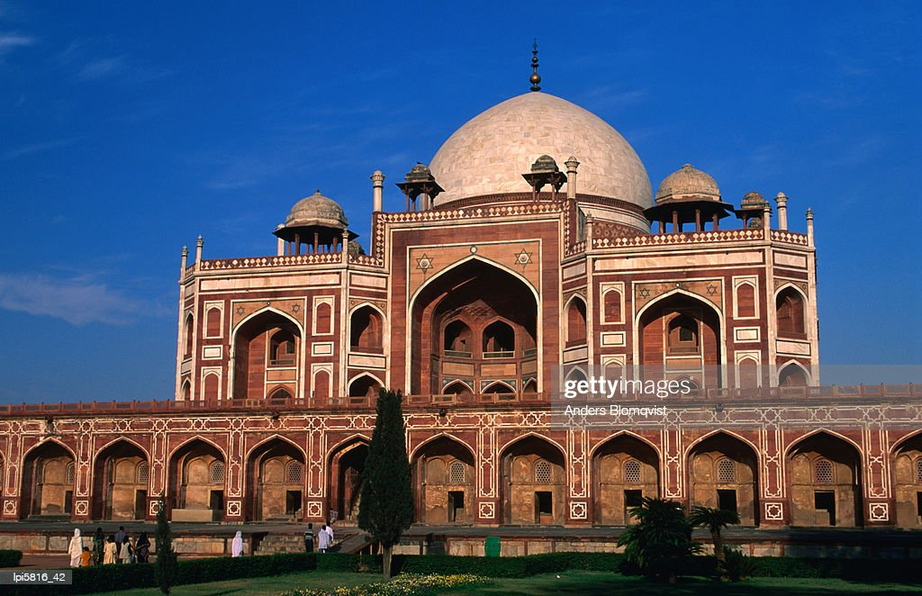 mughal architecture on decorated facade of humayuns tomb at sunset delhi india