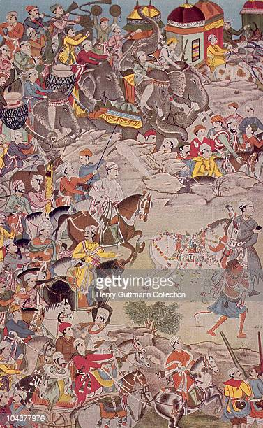 Mughal Emperor Akbar the Great in procession circa 1600 He ruled in India from 1556 to 1605 A miniature from a copy of the Mahabharata written for...