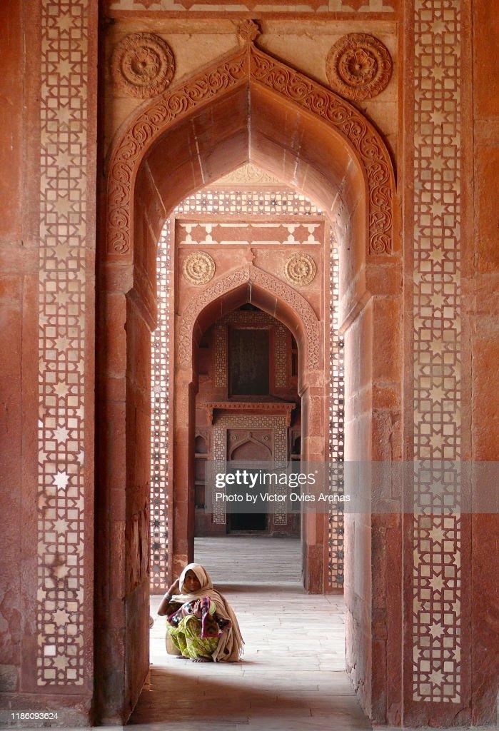 Mughal Jama Mosque or Dargah mosque in Fatehpur Sikri, Uttar Pradesh, India : Foto de stock
