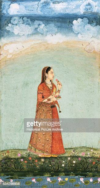 Mughal Miniature Painting Depicting a Lady Holding Bowl of Flowers